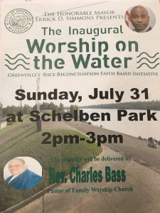 """Mayor Errick Simmons 'Worship on the Water"""" poster - Mississippi Free Press"""