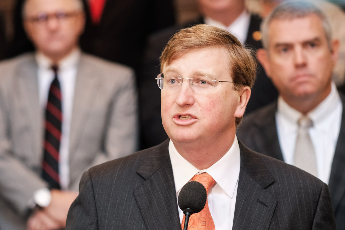Mississippi Governor Tate Reeves speaks in front of lawmakers