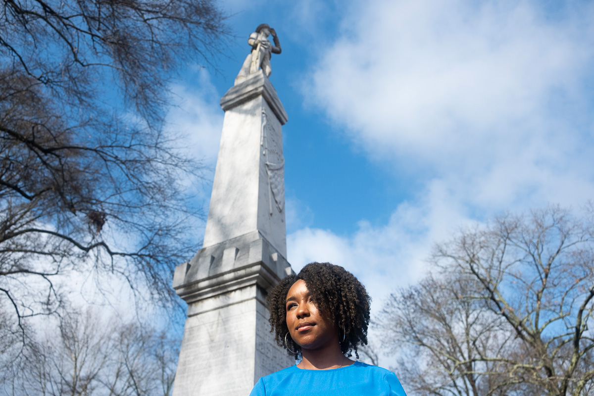 Arielle Hudson at the UM Confederate Statue