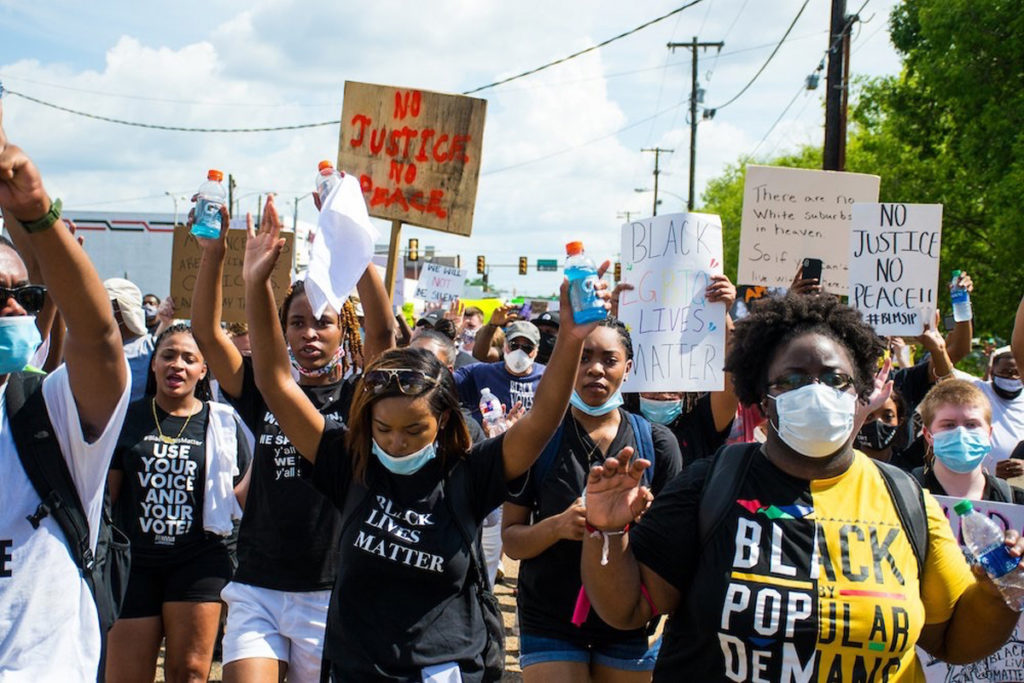Young Black BLM Sip protesters march in Jackson