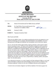 Noel Wilkin letter to UM journalism school about whistleblowers