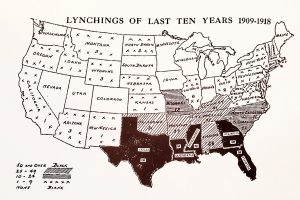 An early 20th-century NAACP map showing lynchings between 1909 and 1918.