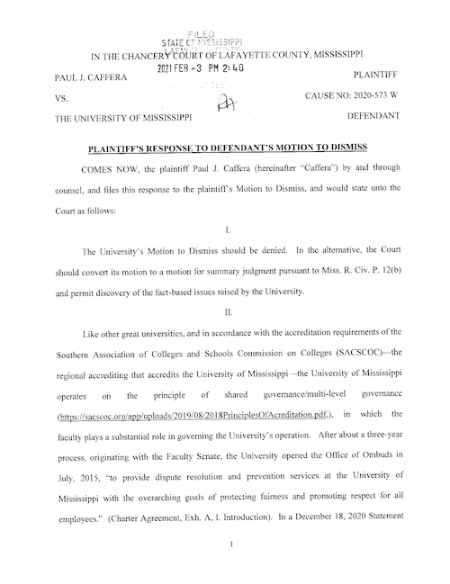 Image links to the Plaintiff's response t the motion to dismiss