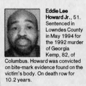A Clarion-Ledger newspaper clipping of Eddie Lee Howard in 2004, already on death row at Parchman prison for 10 years.
