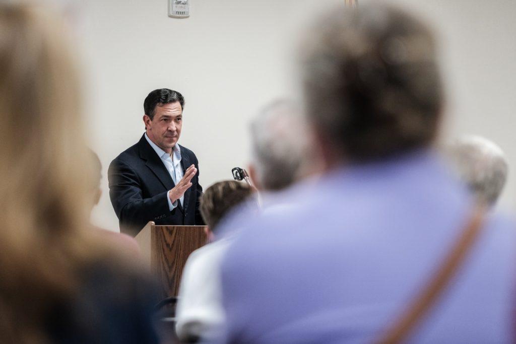Senator Chris McDaniel talks to voters