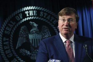 Mississippi Gov. Tate Reeves speaks at a press conference