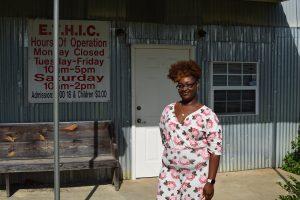 Ashley Haywood in front of the Emmett Till Historic Intrepid Center in Glendora, Mississippi