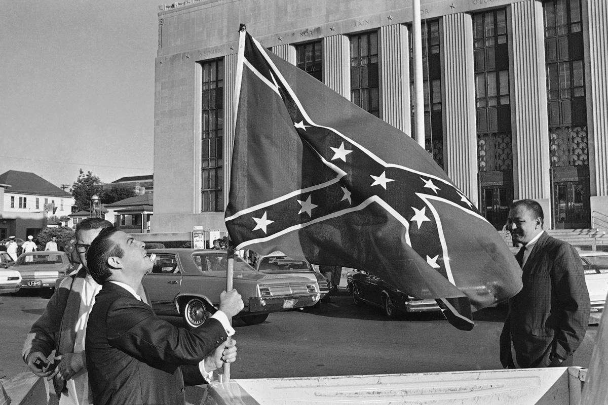 Men waving Confederate Flag in Meridian, MS