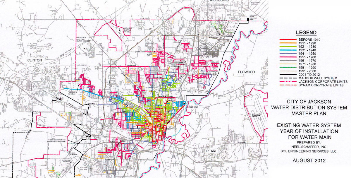 Map of the City of Jackson showing the age of water main installations