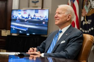 President Joe Biden participating in a virtual phone conference