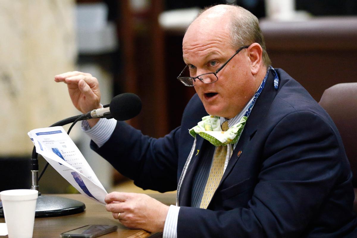 Sen. Brice Wiggins speaking at the Capitol in Jackson, Mississippi