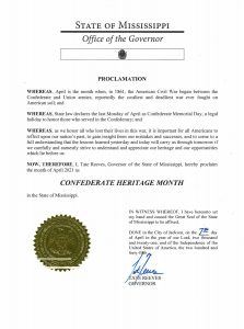 Confederate heritage month proclamation