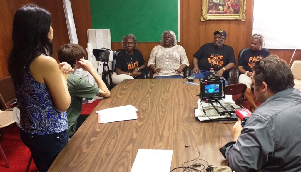 Crew interviewing residents of Pace, MS