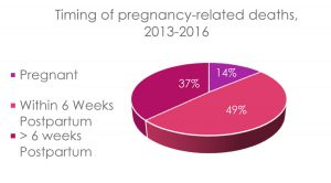 Timing of pregnancy-related deaths, 2013-2016 piechart