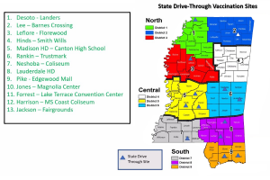 State Drive-Through Vaccination Sites Map