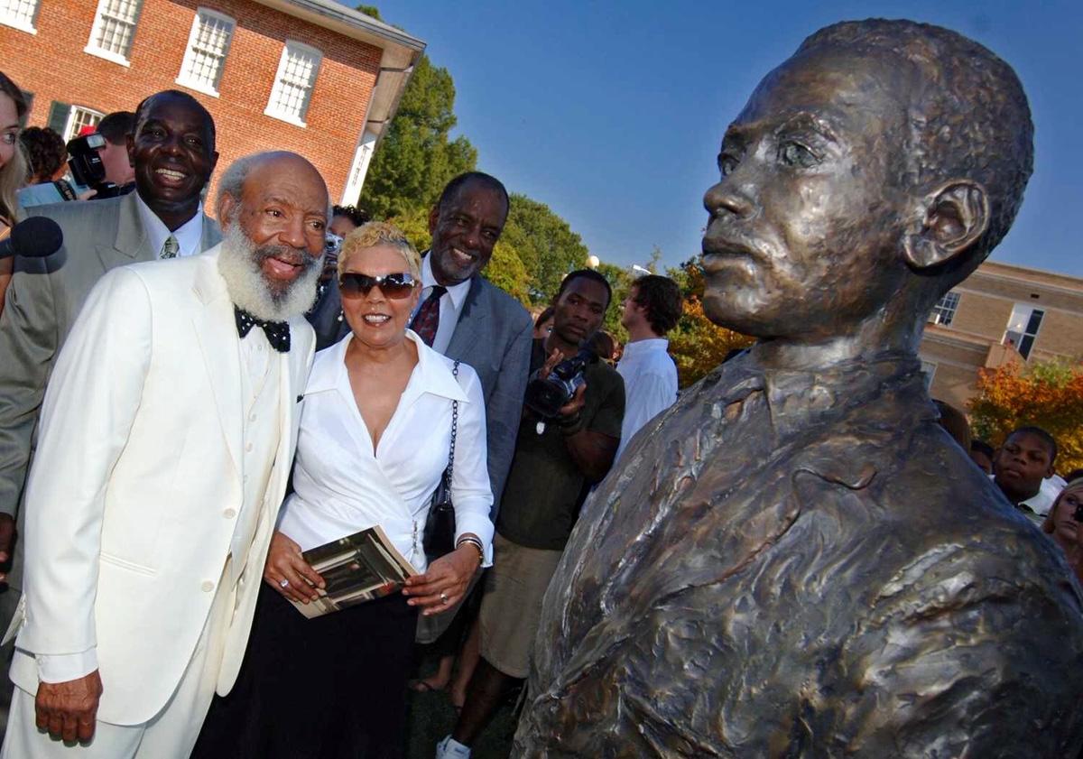 James and Judy Meredith at statue dedication