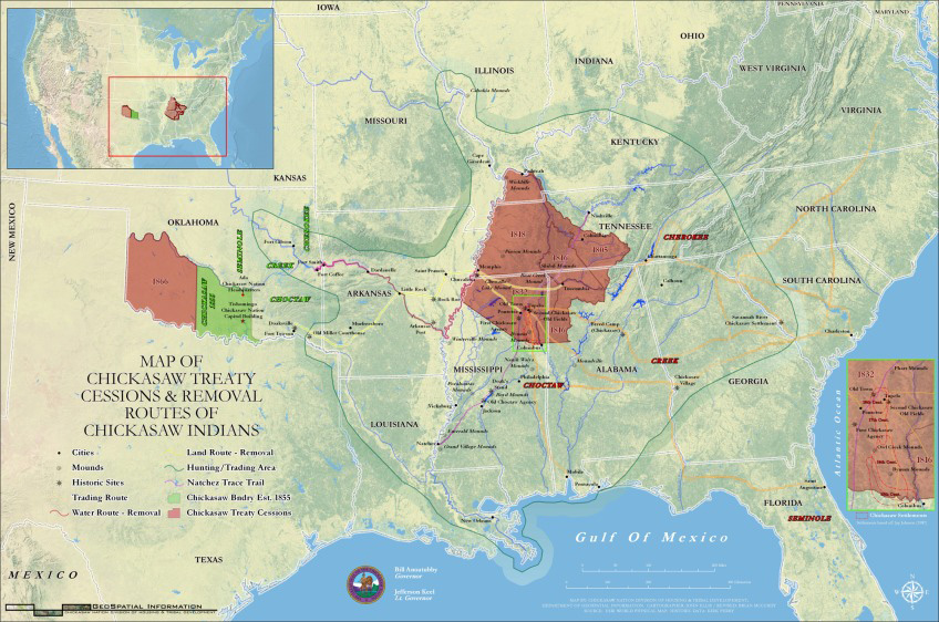 Chickasaw Treaty Cessions and Removal Routes of Chickasaw Indians Map