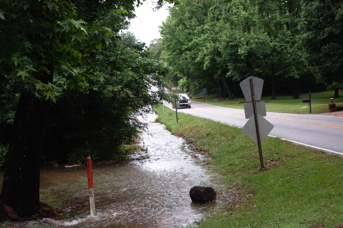 Water pooled on the roadside