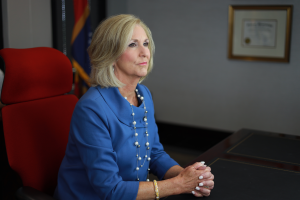 Mississippi Attorney General Lynn Fitch sits at her desk
