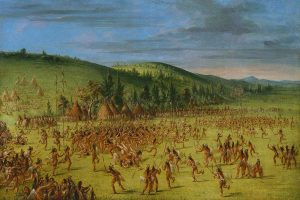 George Catlin, Ball-play of the Choctaw--Ball Up