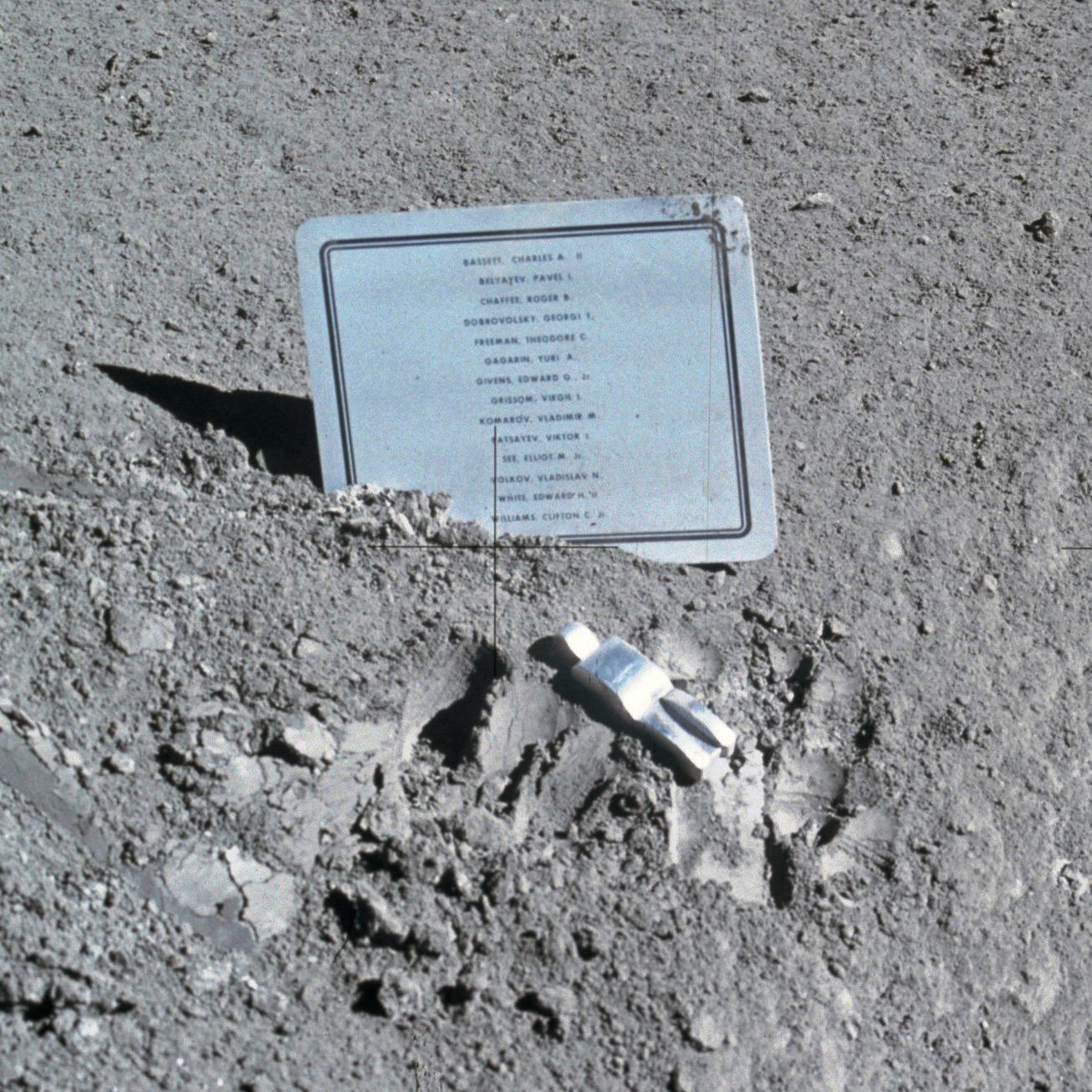 commemorative plaque on the Moon