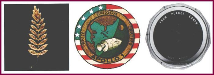 olive branch Apollo 1 patch and a silicon message disk