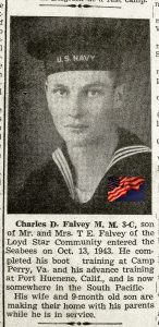Newspaper clipping showing Charles Falvey as a young Navy man