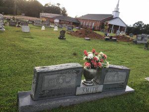 Smith marker in church cemetary