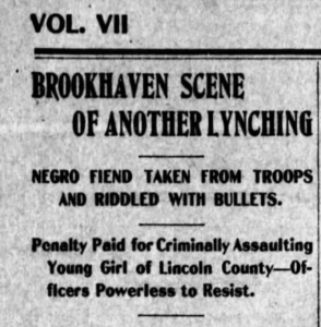Headline from Mississippi newspapers calling a lynched Black man guilty of rape before he had gone to trial