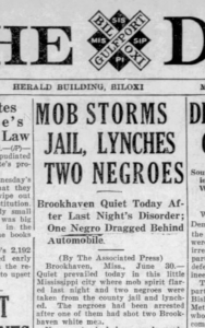 newspaper clipping on front page of Daily Herald in Biloxi about lynching of the Bearden brothers in Lincoln County
