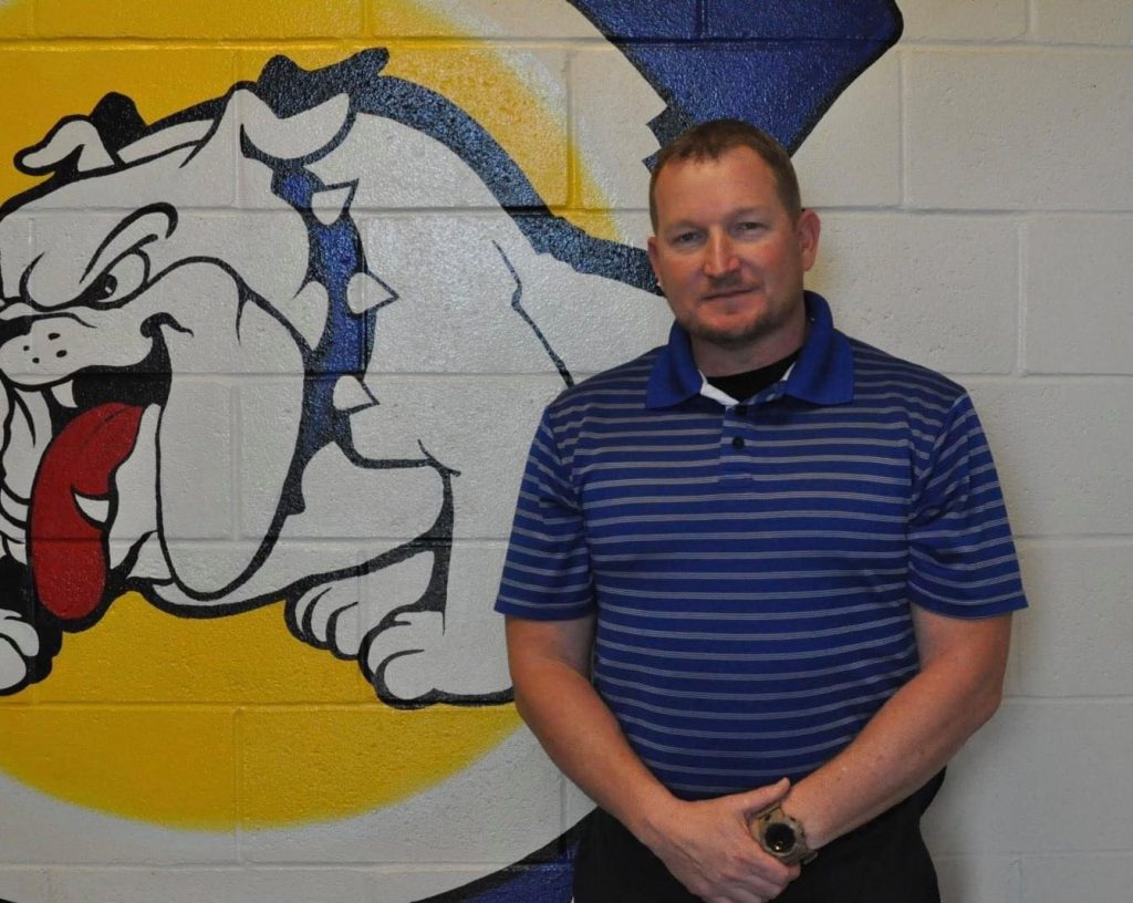 a photo of Mize high school football coach Steve Bynum