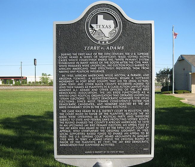 Marker in Kendleton, TX discussing Terry v Adams