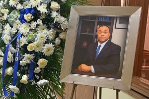 Picture of late former Hinds County District Attorney Robert Shuler Smith at the door of the hall where he laid in state