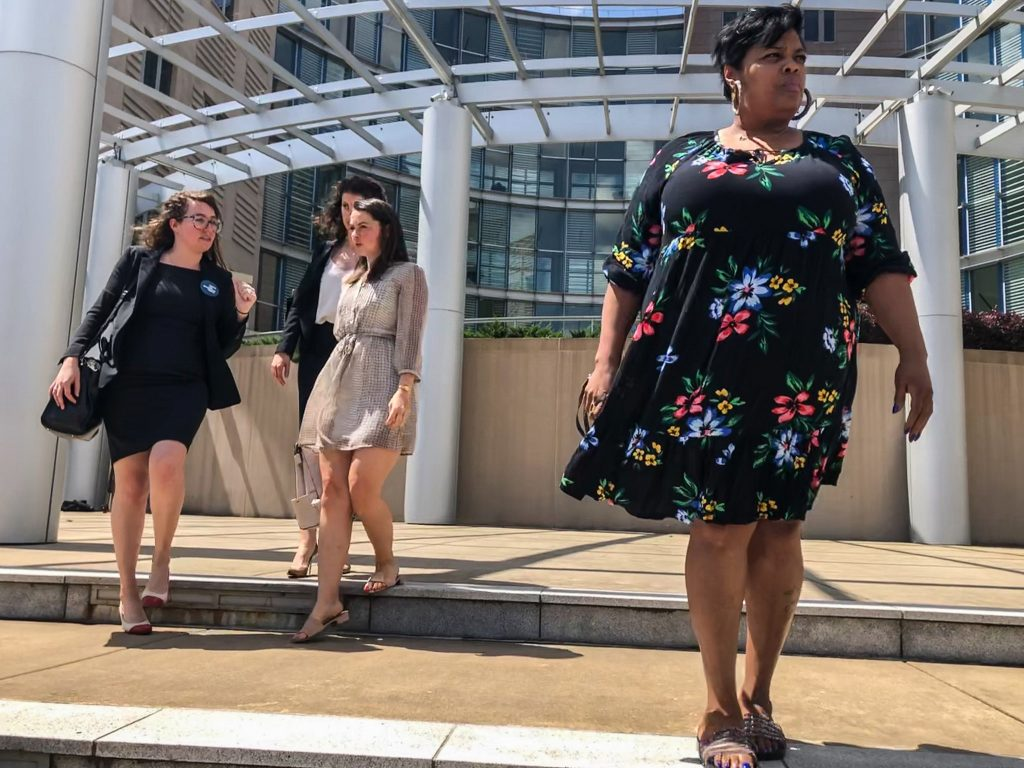 Jackson Women's Health Organization Director Shannon Brewer in a floral dress