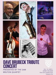 A flyer for Dave Brubeck Tribute Concert presented by the Sam Bruton Quartet