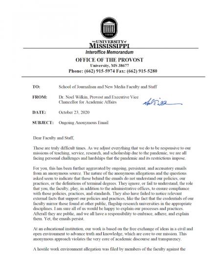Noel Wilkin 10-23-20 letter to journalism faculty